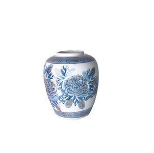 Blue And White Rose Detail Vase